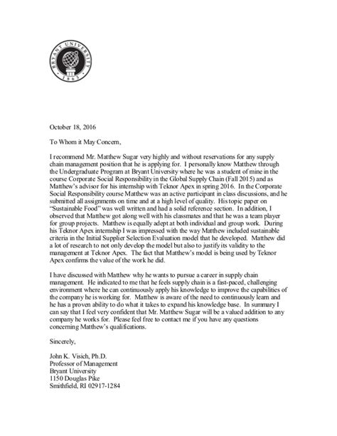 letter of recommendation professor visich