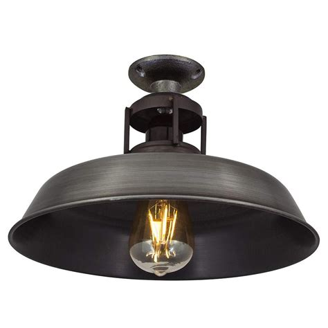 Barn Slotted Flush Mount Ceiling Light In Pewter Finish Style Ceiling Lights