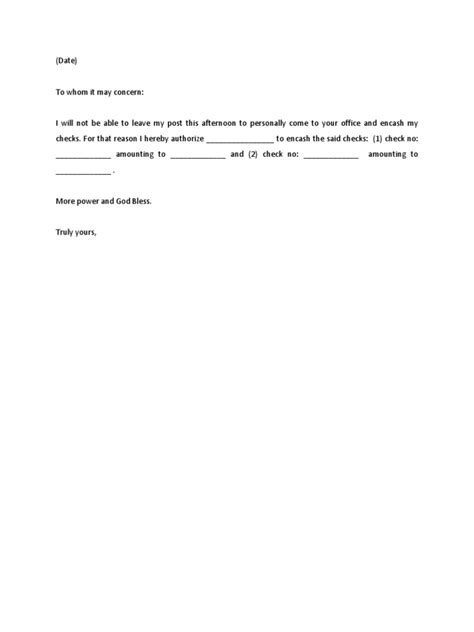 authorization letter for bank check encashment sle authorization letter