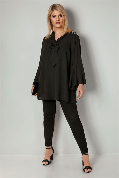 Murah Himbow Blouse black bow blouse with studded details plus size 16