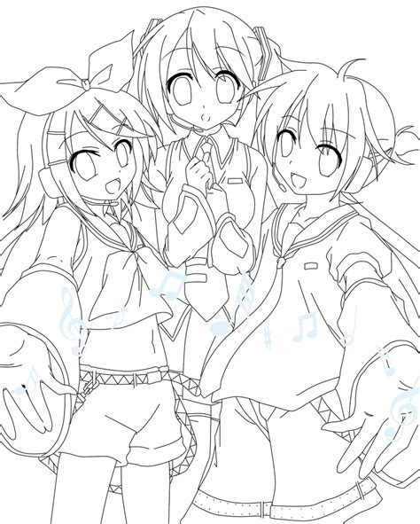 vocaloid coloring pages vocaloid lineart by harmpink456 on deviantart