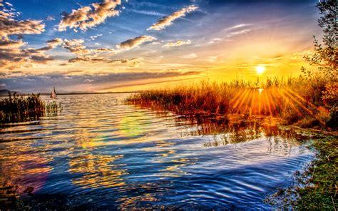 sunset lake clouds sunlight wallpaper hd wallpaperscom