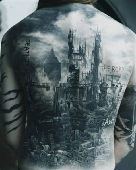 city tattoo designs fallen city tattooed tattoos back