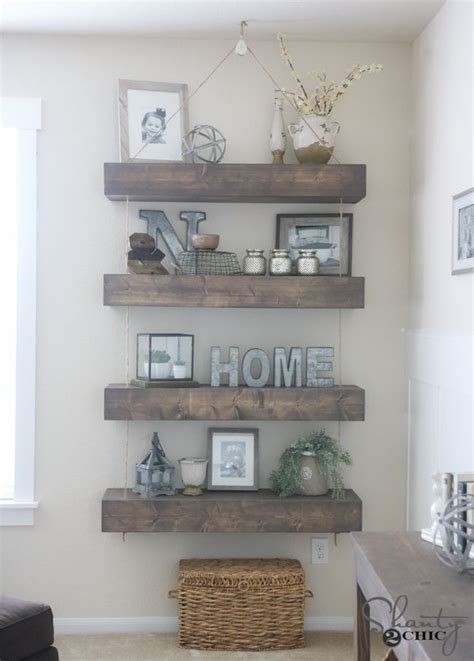 how to decorate floating shelves diy floating shelves with rope and pulley free plans