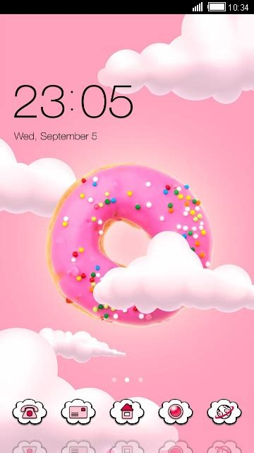 cute kawaii theme pink donut wallpaper  android theme