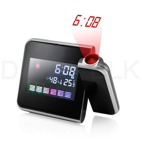 projection digital weather lcd snooze alarm clock color display w led backlight ebay