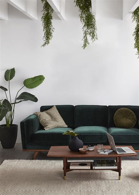 boho style  green velvet sofa  stylish options