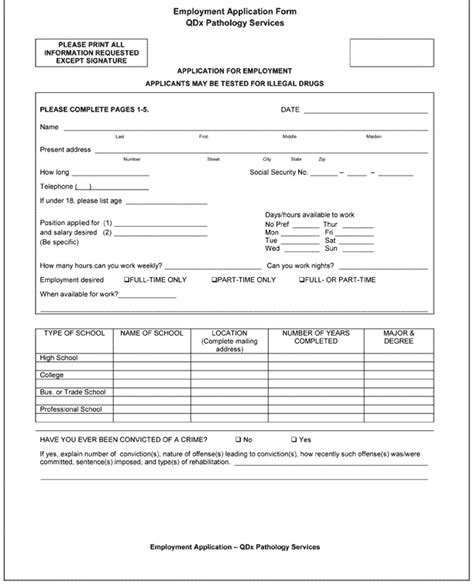 application form application form one page