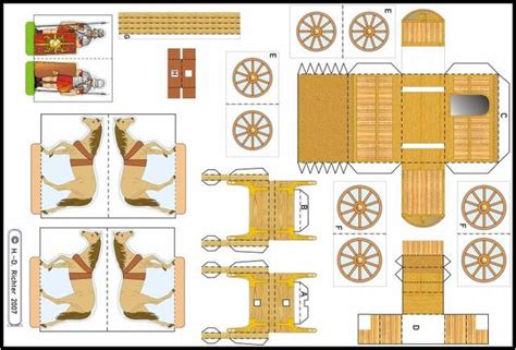 papermau roman chariot paper model for school works