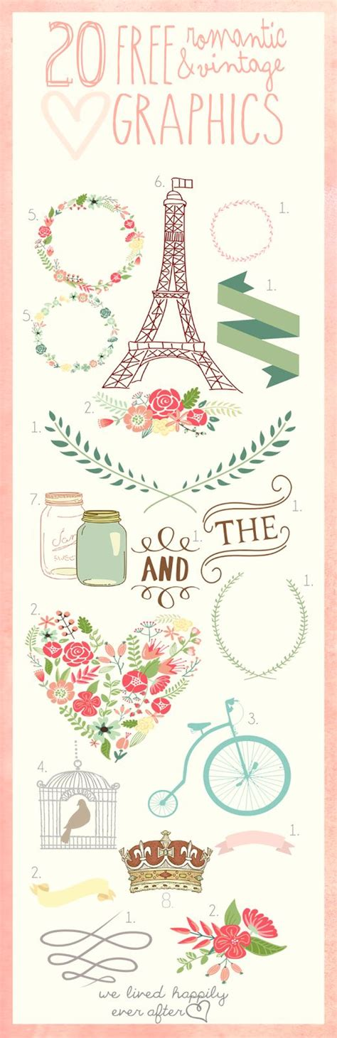free love printables we lived happily ever afterwe lived 20 free romantic and vintage graphics we lived happily