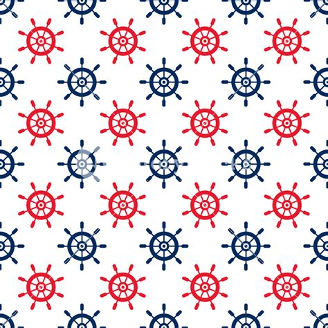 nautical pattern background nautical red and blue steering wheel pattern on a white