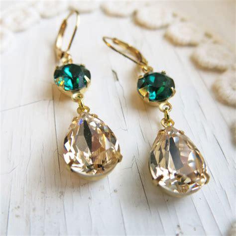 buy earrings vintage estate wedding emerald earrings vintage earrings chagne gold earrings