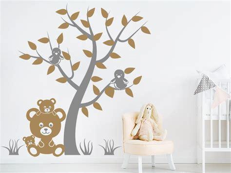 Wandtattoo Baum Babyzimmer by Wandtattoo Baum Mit V 246 Geln Und Teddyb 228 Ren Wandtattoos De