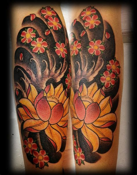 japanese flower tattoo leg by jerrrroen on deviantart