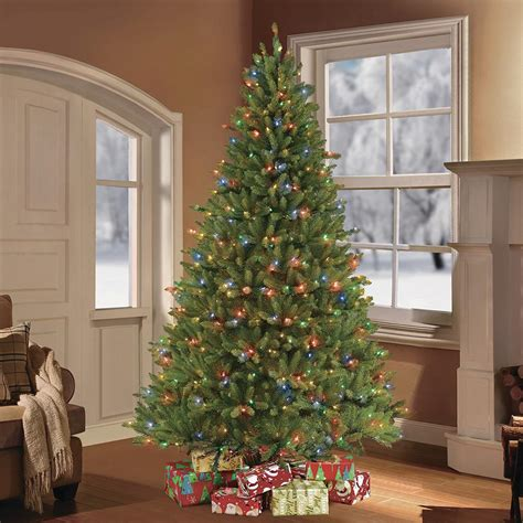 pre lit multi color led slim christmas tree puleo 7 5 ft pre lit fraser fir artificial tree with 750 clear multi colored led