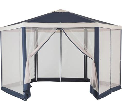 gazebo hexagonal buy home hexagonal 4m blue garden gazebo w mesh