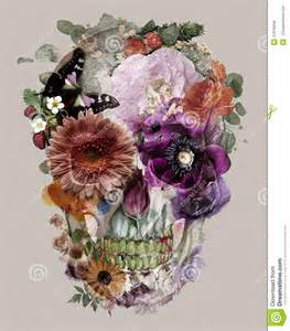 Sugar Skulls With Flowers - the skull of flowers stock illustration image 47818948
