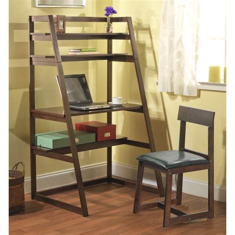simple living ladder desk with shelf set