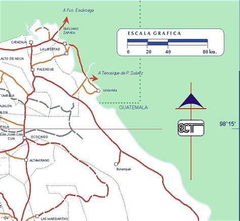 mapa de carreteras de 8499358500 carreteras en chiapas