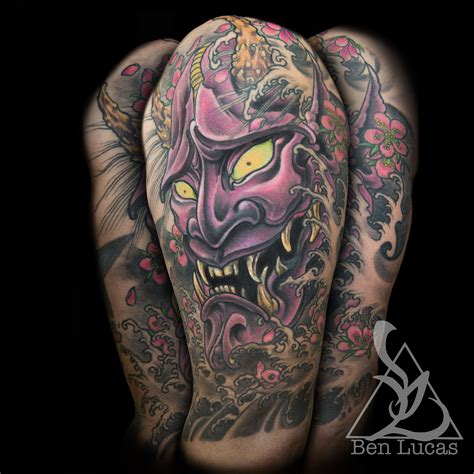 hannya mask tattoo cover up hannya mask nautical star cover up ben lucas eye o by ben