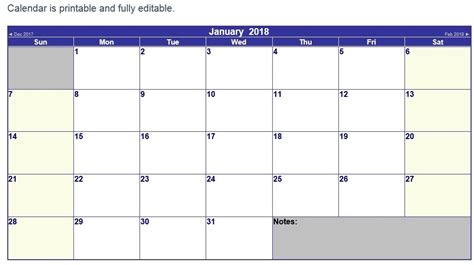 10 Free Sle Printable Calendar Templates For 2018