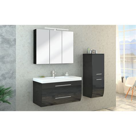 high gloss black bathroom furniture bathroom furniture set high gloss bathroom mirror cabinet sink led anthracite ebay