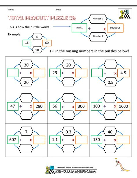 printable games for subtraction printable math puzzles 5th grade
