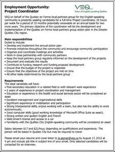 veq notice seeking two project coordinator