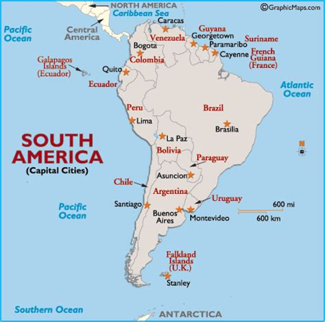 south america map bodies of water south america capital cities map map of south america