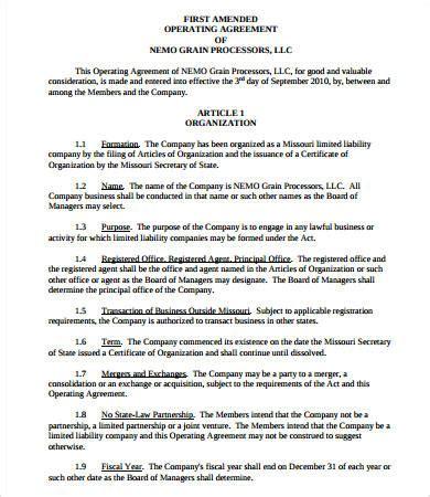 Sle Operating Agreement 8 Free Pdf Documents Download Free Premium Templates Missouri Llc Operating Agreement Template