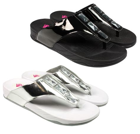 comfortable flip flops for walking womens ladies dunlop toning walking summer keep fit flip