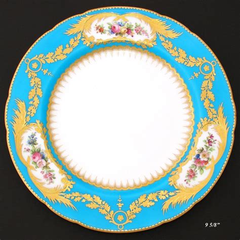 Cabinet Plates by Antique Minton Cabinet Plate Sevres Blue With Raised