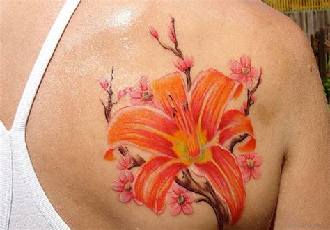 orange tattoo 43 hibiscus shoulder designs