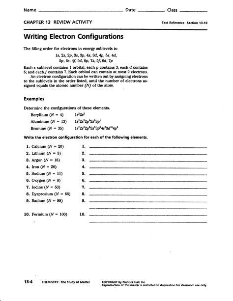 Electrons Configuration Practice Worksheet Answers