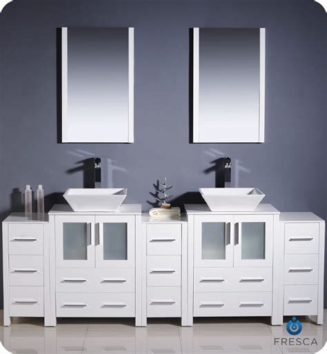 Bathroom Vanities With Side Cabinets 84 Quot Fresca Torino Fvn62 72wh Vsl Modern Sink Bathroom Vanity W Three Side Cabinets