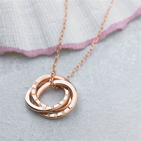 personalised rose gold russian ring necklace by posh totty