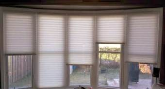 Shades For Bow Windows Custom Blinds On A Bow Window Modern Living Room