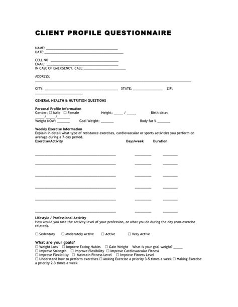 fitness client profile questionnaire in word and pdf formats