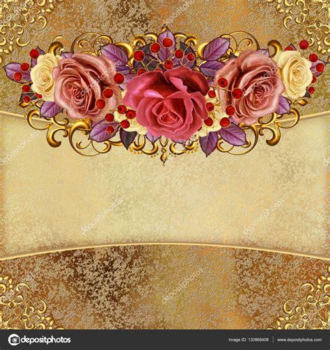 imagenes de rosas doradas fondo vintage dorado guirnaldas de flores de rosas pastel