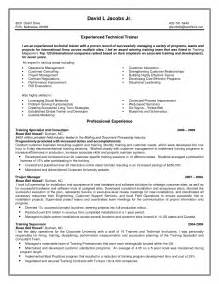 Contract Trainer Sle Resume by Contract Cover Letter Sle