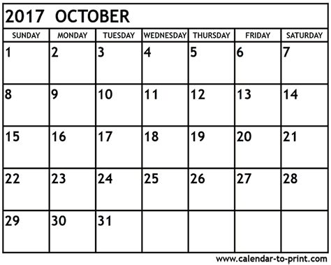 printable calendar month of october 2017 october 2017 calendar printable