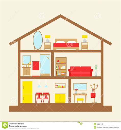 inside house inside the house house in cut stock vector