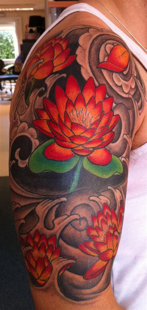 japanese tattoo lotus sleeve 44 japanese lotus tattoos collection