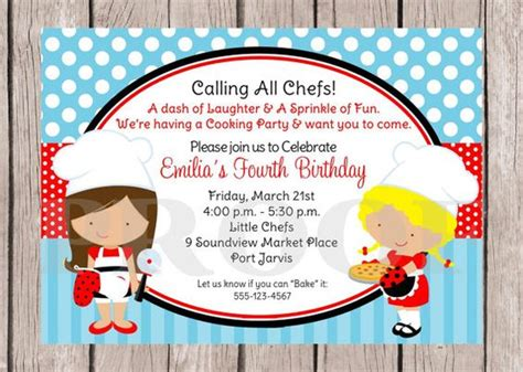 Printable Little Chef Birthday Party Invitation Pizza Cooking Baking Choose Hair Color Pered Chef Invitation Template