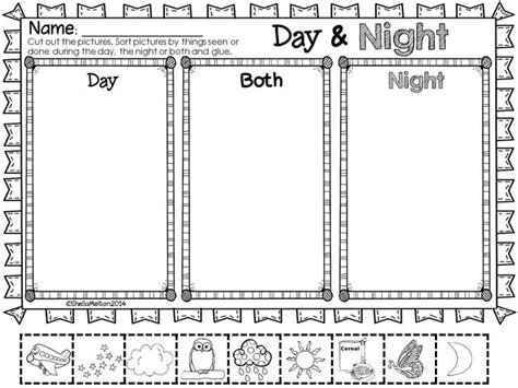 day and night coloring page for kindergarten day and night objects in the sky night activities and