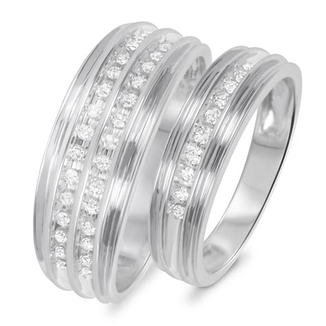 his and hers white gold wedding bands 3 8 carat t w his and hers wedding rings 14k