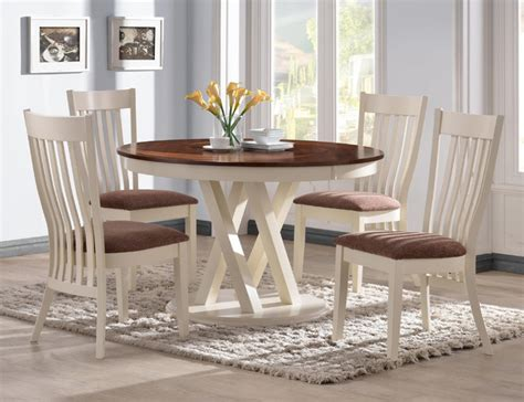 5 Pc Country Pecan White Wood Dining Set 42 Quot Round Table 42 Dining Table Sets