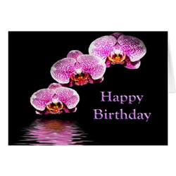 happy birthday with purple orchids card zazzle