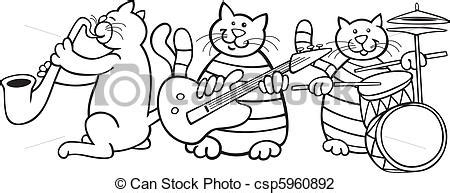 cats musical coloring pages vector illustration of cats band for coloring book
