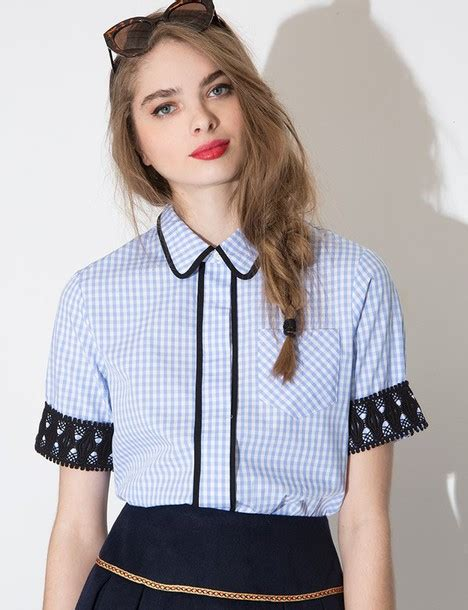 Blouse Ootd blouse crotched top summer top ootd pixiemarket collared shirt collared top gingham